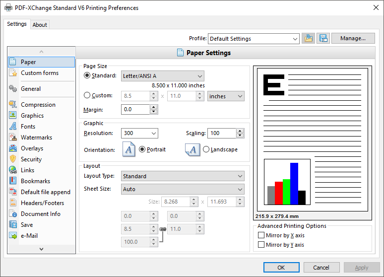 PDF-XChange Standard V6 Settings Interface