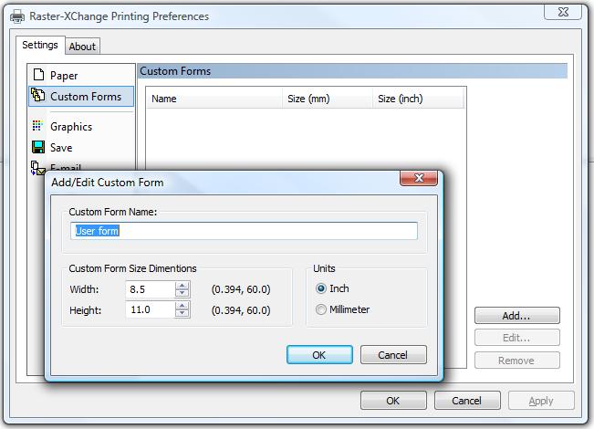 Raster-XChange: Custom Forms