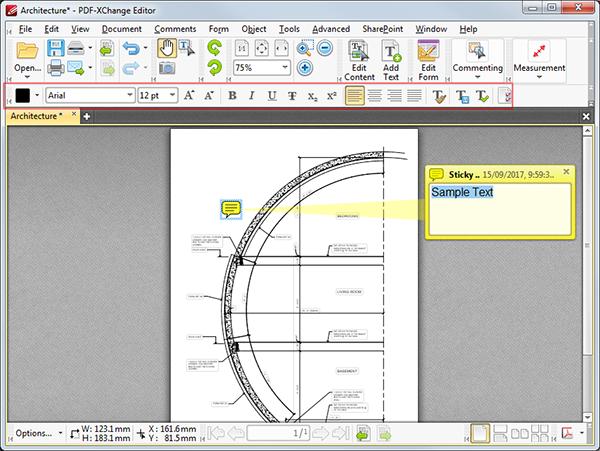 pdf xchange viewer v7 text box font