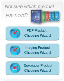 Not sure which product you need? Use our PDF, Imaging and Developer Product choosing wizards.