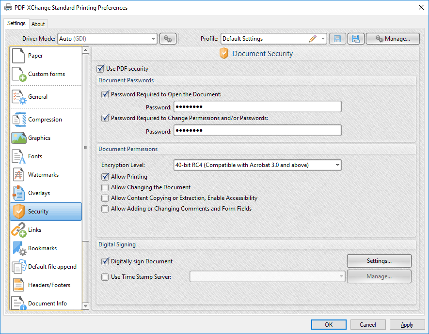 secure pdf file with password