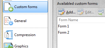 Select Paper Settings and Custom Form Options