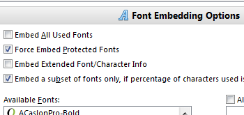 Font Embedding Options