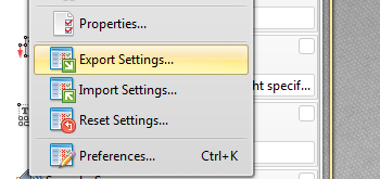 Save/Import/Export Settings