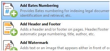 Add Bates Numbering